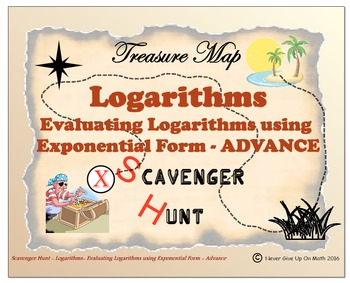 Scavenger Hunt {School/Home/Stations} - Evaluate Logarithmic Functions (Advance)