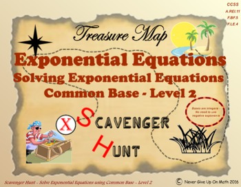 Scavenger Hunt {School/Home/Stations} - Solve Exponential Functions Level 2