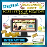 Scavenger Hunt: Solve System of Equation Elimination (Google Interactive & Copy)