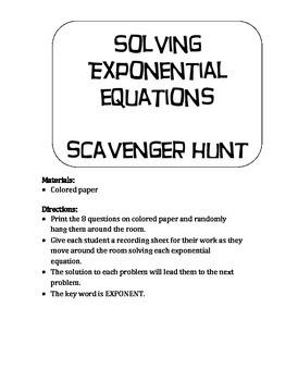 Scavenger Hunt Solving Exponential Equations
