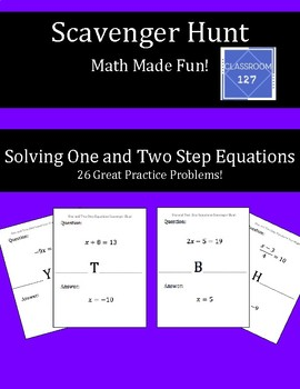 Scavenger Hunt:  Solving One and Two Step Equations