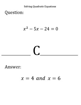 Scavenger Hunt:  Solving Quadratic Equations