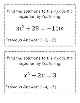 Scavenger Hunt: Solving Quadratic Equations by Factoring