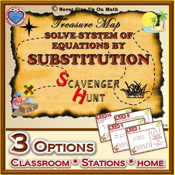 Scavenger Hunt (with optional QR Code) - Solving Sys of Eq - Substitution