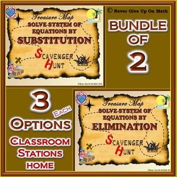 BUNDLE Scavenger Hunt - Solving systems of equations substitution & Elimination