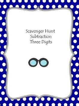 Scavenger Hunt Subtraction Three Digits