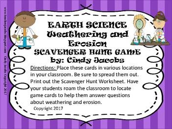 Scavenger Hunt Task Cards Erosion and Weathering