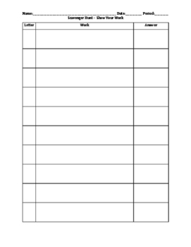 Scavenger Hunt - Template for Show Your Work