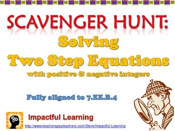 Scavenger Hunt: Two Step Equations with Positive & Negative Integers - 7.EE.4