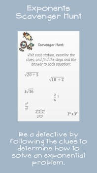 Scavenger Hunt Rules of Exponents, Square Roots, and Cube Roots