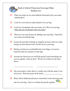 Scavenger Hunt for Back to School