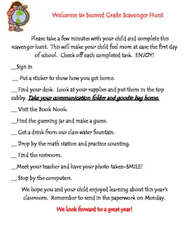 Scavenger Hunt for Beginning of the Year