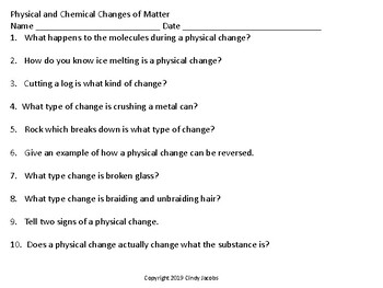 Scavenger Hunt for Chemical and Physical Changes
