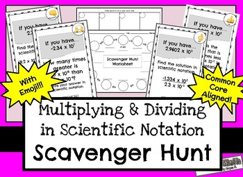 Scavenger Hunt for Multiplying & Dividing in Scientific Notation