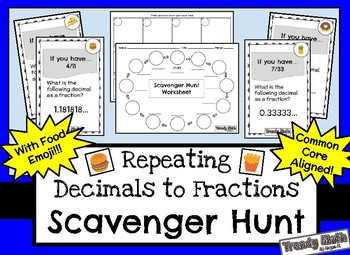 Scavenger Hunt for Repeating Decimals to Fractions with Emoji Food!
