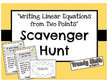 Scavenger Hunt for Writing Equations of Lines with Emojis!