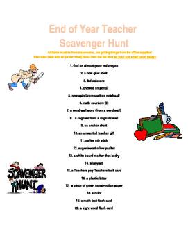Scavenger Hunt for teachers-End of Year