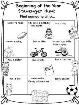 Scavenger Hunt for  the Beginning of the Year & End of Year