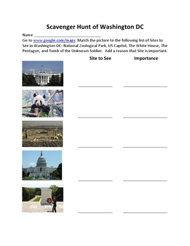 Scavenger Hunt of Washington DC With Google Maps