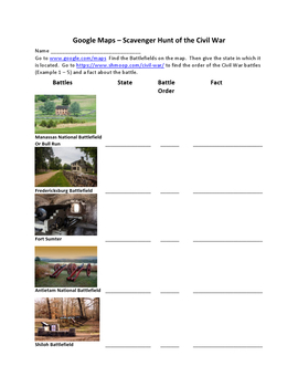 Scavenger Hunt of the Civil War with Google Maps