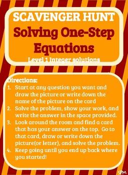 Scavenger Hunt_Solving One Step Equations(Level 1)