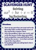 Scavenger Hunt_Solving Quadratic Equations ax^2 + bx + c = 0