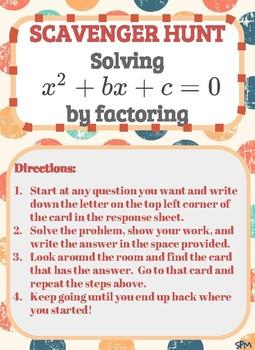 Scavenger Hunt_Solving Quadratic Equations  x^2 + bx + c = 0