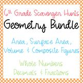 Scavenger Hunts: Geometry Bundle: Area, Surface Area, Volume & Composite Figures