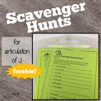 Scavenger Hunts for Articulation of J FREEBIE