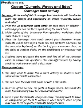Ocean Currents, Waves and Tides Scavenger Hunt