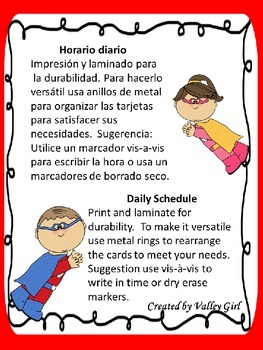 Schedule chart: Superhero Theme in Spanish with Editable templates