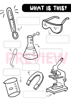 Science lab equipment worksheet - Naming and Coloring