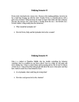 Scenarios on Bullying: critical thinking situations for classroom discussions
