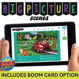 Big Picture Scenes: Wh- Question Cards +  BOOM Cards! + NO