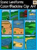 Scenic Landforms Clip Art Collection- Color/Blackline-Commercial Use Images