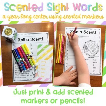 Scented Sight Words {EDITABLE year long sight word center}