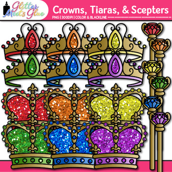 Scepter, Tiara, & Crown Clip Art | Royal King and Queen Graphics for Birthdays