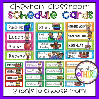 Schedule/ Agenda Cards [Chevron- 3 Different FONTS!]