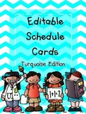 Schedule Cards -  Turquoise Edition (Editable)