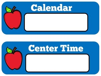 Apple Themed Schedule | Apple Theme Daily Schedule Cards