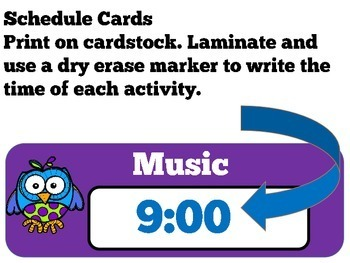 Daily Schedule Cards | Schedule Cards | Class Schedule | Owl Theme