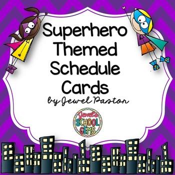 Superhero Theme Schedule Cards ❤ Superhero Schedule Cards