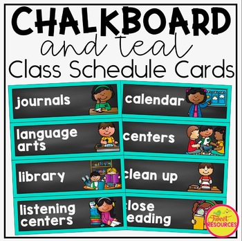 Schedule Cards {Teal and Chalkboard Classroom Decor Theme}