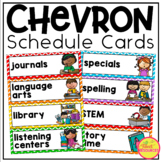 Schedule Cards in Rainbow Chevron Classroom Decor Theme includes editable cards!