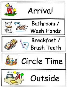 Preschool Schedule Cards for pocket chart