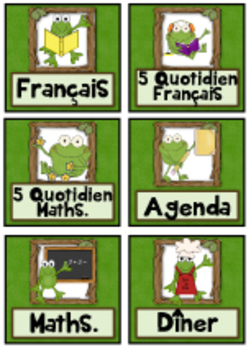 "French Schedule Cards - 3 1/4"" x 3"" - Frog Theme"
