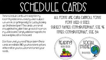 Schedule Cards - Editable!