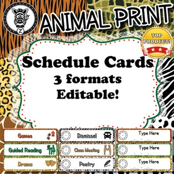 Schedule Cards  - Animal Print - ZisforZebra - Editable!