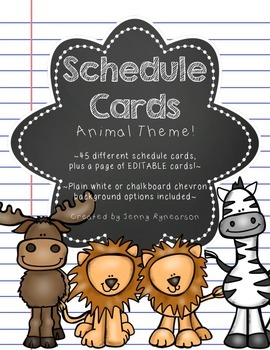 Schedule Cards! Animals Theme! 45 Different Cards, Plus One EDITABLE Page!