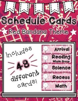 Schedule Cards: Bandana/Cowboy Theme